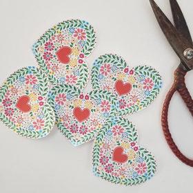 Lovely Mini Folk Heart Free Printable Download