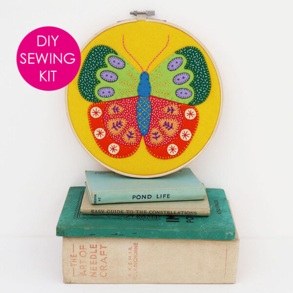 Summer Butterfly Hoop Kit - finished hoop - website with tag