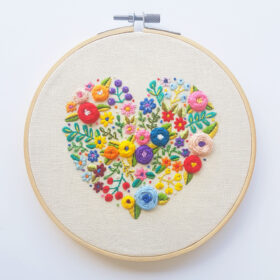 Love Grows Here PDF Pattern 6 inch hoop - Designed by Drop the Weasel