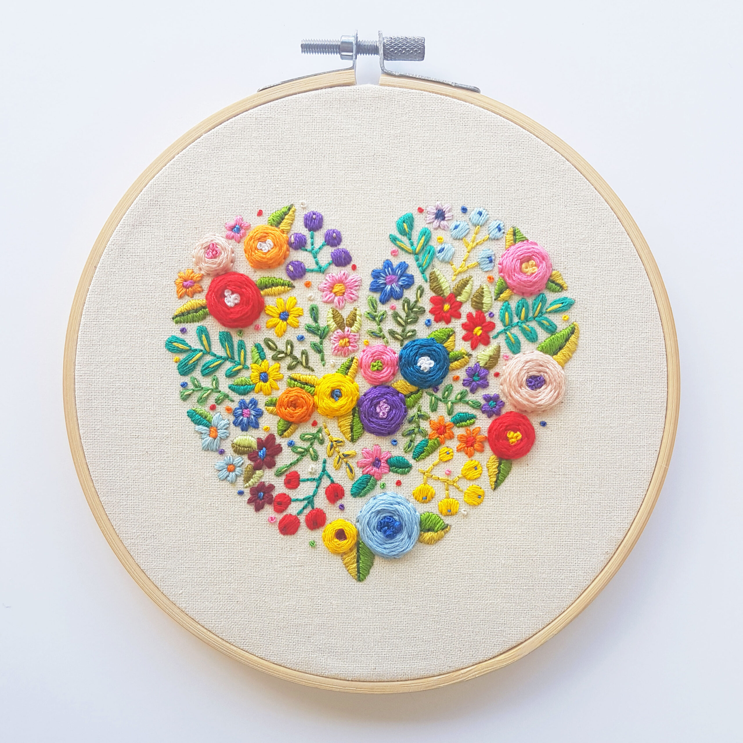 Love Grows Here' – Floral Heart Printable Embroidery Pattern ...