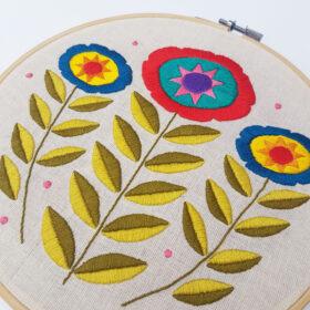 Scandi Flowers PDF Pattern - hoop detail by Drop the Weasel